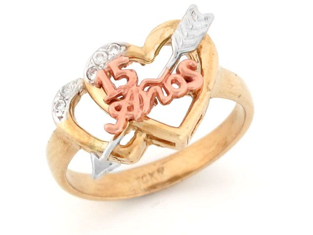 15 Anos Rings: Two Tone Gold 15 Anos Quinceanera Double Heart Ring (JL
