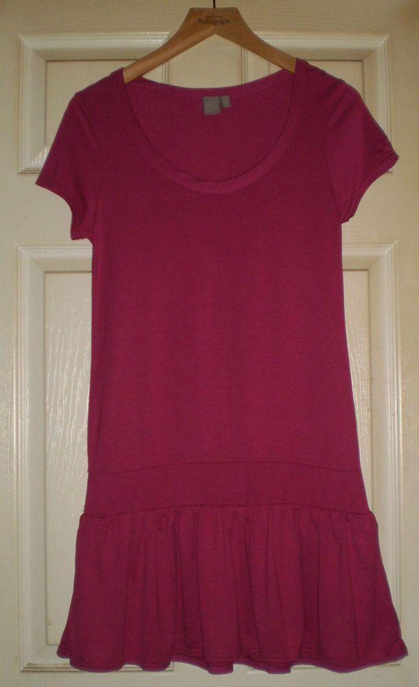 DARK PINK Long TUNIC TOP or SHORT SUMMER DRESS Size 12