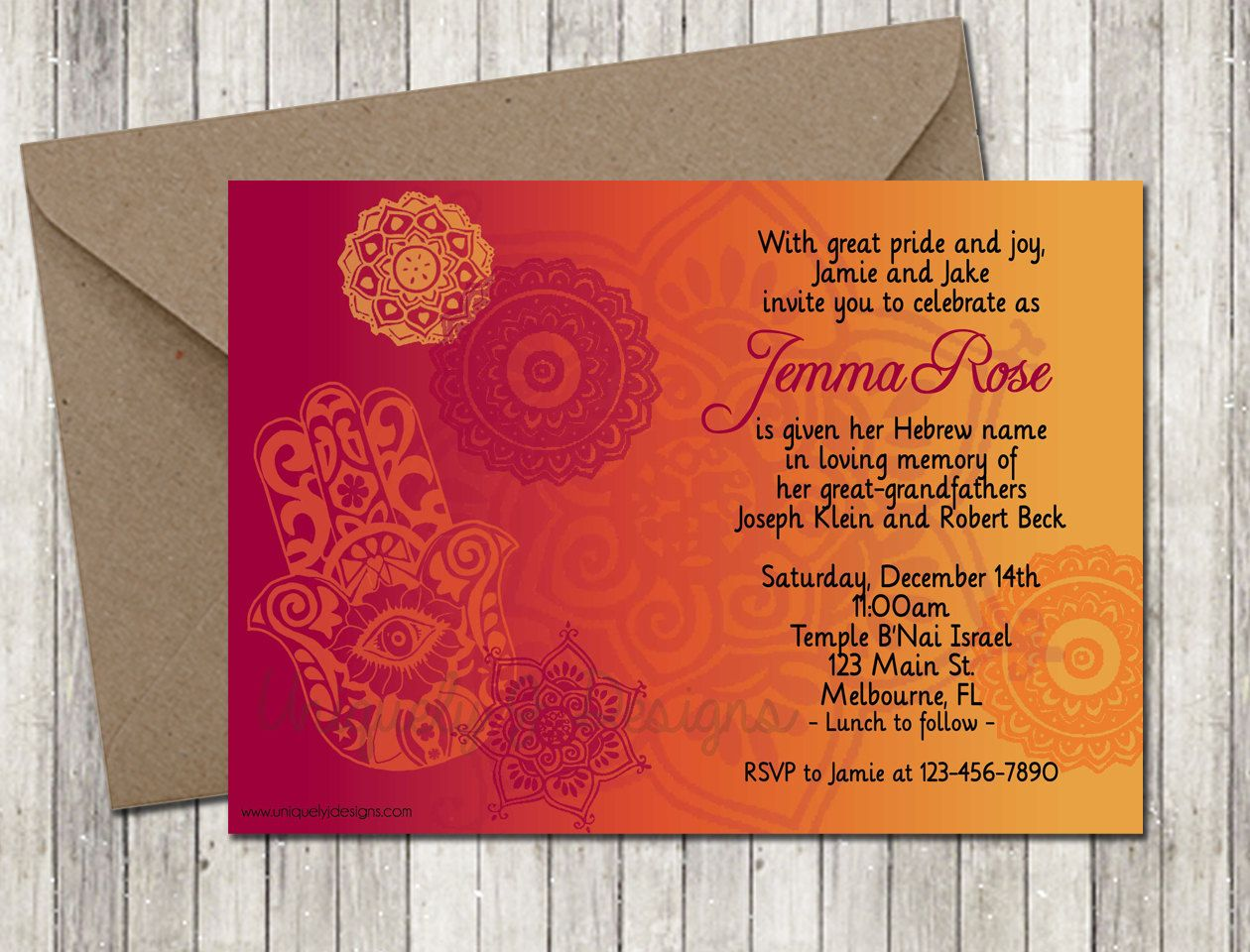 Hamsa Flowers Ombre Baby Naming Invitation | Printable DIY Baby ...