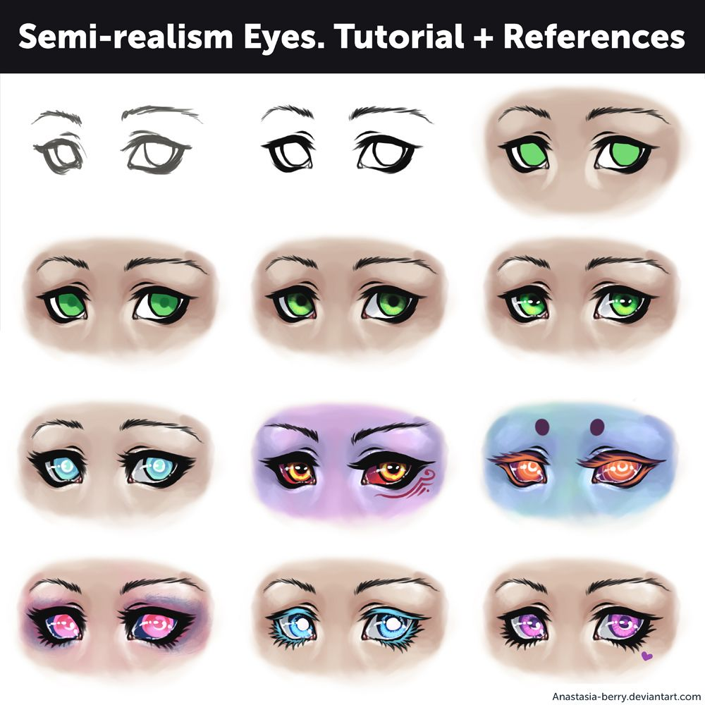 Image Result For Semi Realistic Eyes Drawing Refrences Pinterest