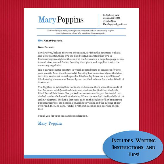 Nanny Cover Letter Template Mary Poppins by NannyLikeAPro on Etsy - nanny resume cover letter