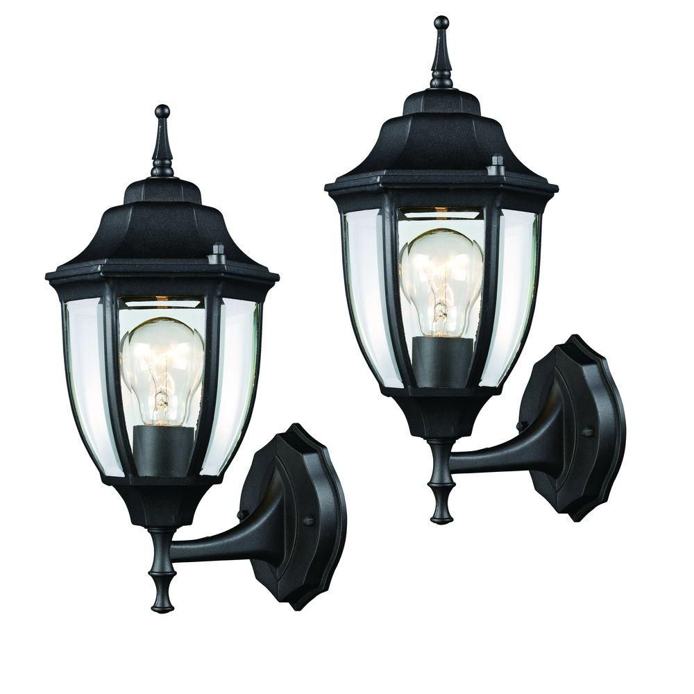 Hampton bay black outdoor wall lantern pack bathrooms