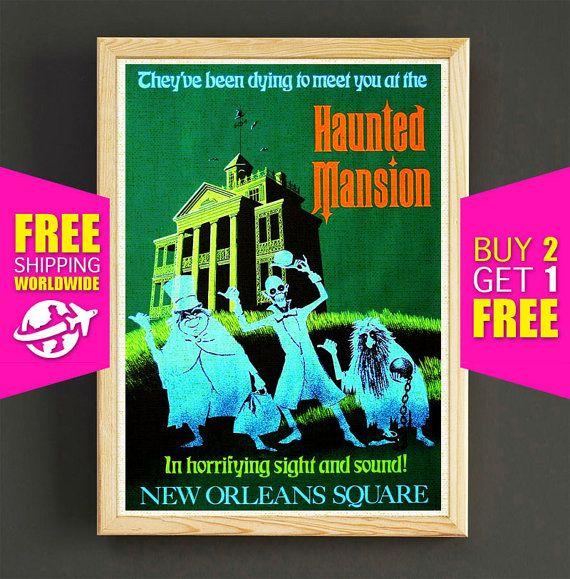 Vintage Disneyland Attraction Poster Halloween Haunted Mansion Print