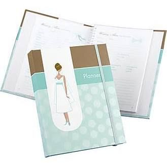 HBH 64 Pages Spiral-Bound Bride's Planner, Turquoise/Brown