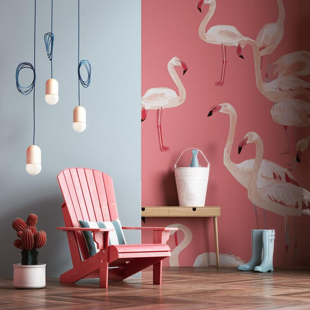 Flamingo fishing #cg #render #coronarender #instarender #renderbox #rendercollective #interiordesign #style #blue #pink #flamingo #fish