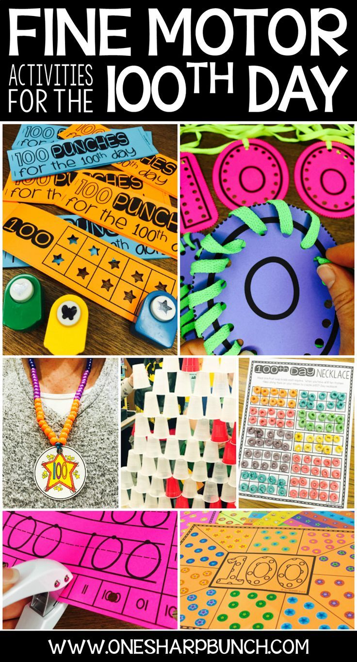 Celebrate the 100th Day of School with these engaging fine motor activities for kids! Your kiddos are sure to have a blast with these 100th Day of School activities on the 100th Day of Kindergarten! via @onesharpbunch