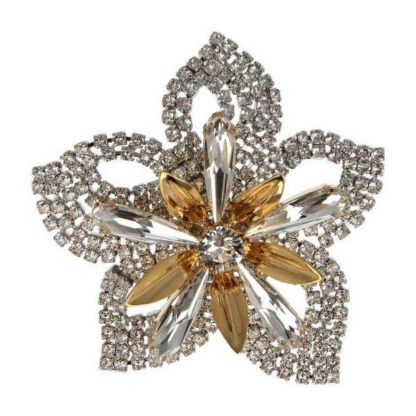 Otazu Rhodium-plated Brooch With Crystal And Gold Swarovski Crystals ($198) ❤ liked on Polyvore featuring jewelry, brooches, rhodium, gold flower brooch, rhodium plated jewelry, crystal stone jewelry, yellow gold jewelry and crystal jewelry