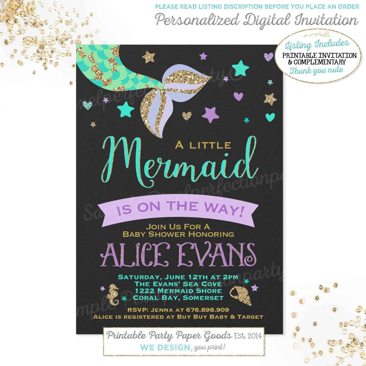 Mermaid Baby Shower Invitation Little Mermaid Baby Shower Invitation ...