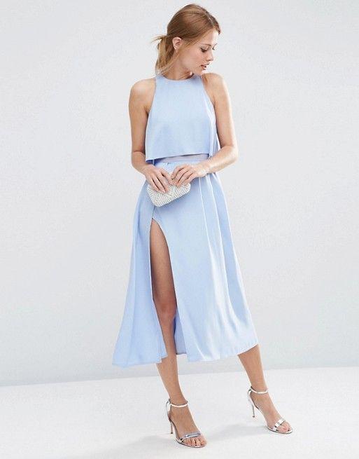 Crop Top Wrap Split Midi Dress Pinterest Fashion Online Midi