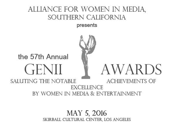 Congratulations to the following 57th Annual Genii Awards Honorees: Nicole Boxer, a documentary filmmaker (The Invisible War, The Hunting Ground); Christine Devine, Television News Anchor at Fox KTTV; Pat Prescott, On Air Personality for 94.7 The Wave; Xanthe Wells, Former Chief Creative Officer at Pitch; Maggie Bellville, Vice President at Hitachi Consulting; and Annette Covarrubias, Digital Sales Planner at CBS Radio! To purchase tickets visit: http://www.awmsocalfoundation.org