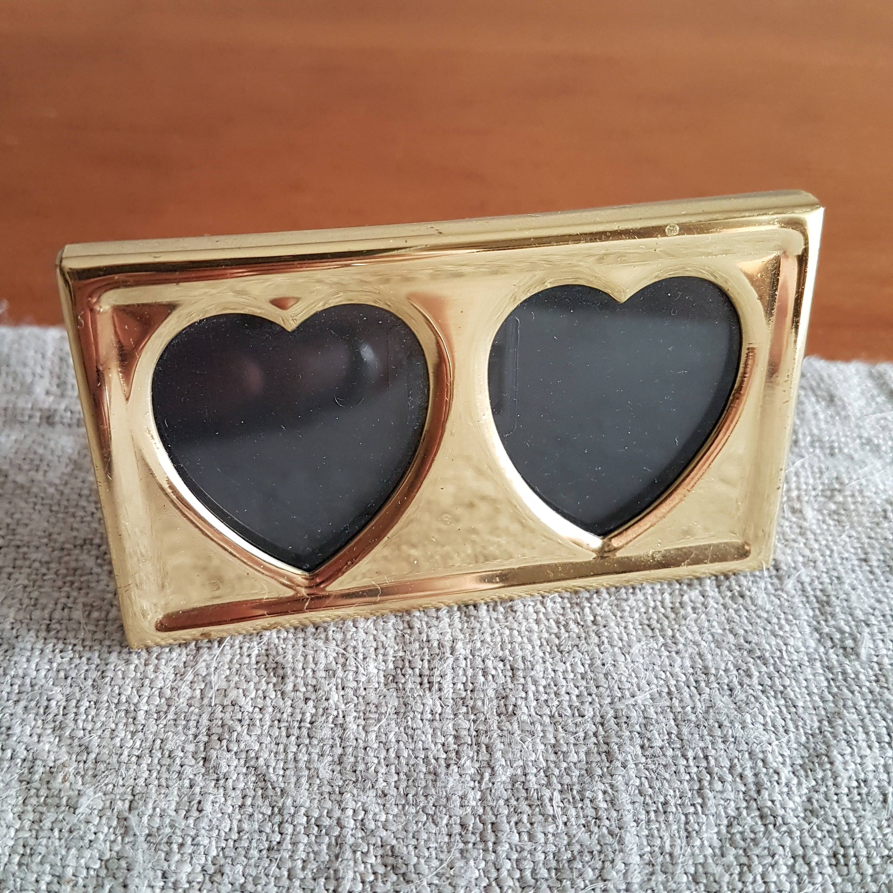 Miniature Solid Brass Picture Frame Double Heart Shaped Apertures