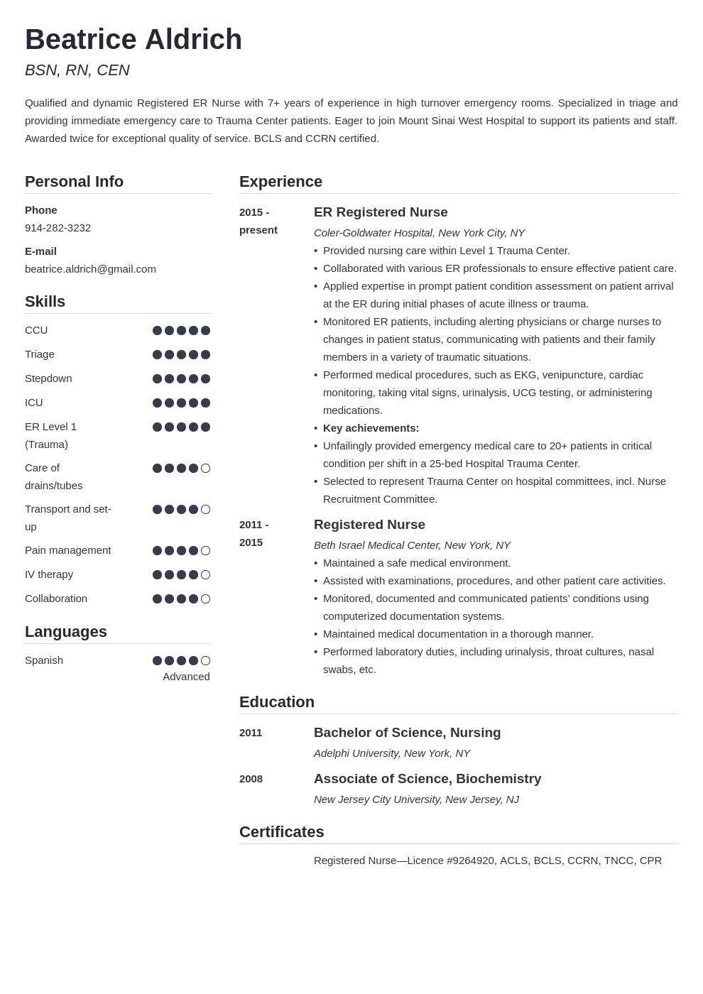 Er Nurse Resume Example Template Simple Resume Examples Resume Template Teacher Resume Examples