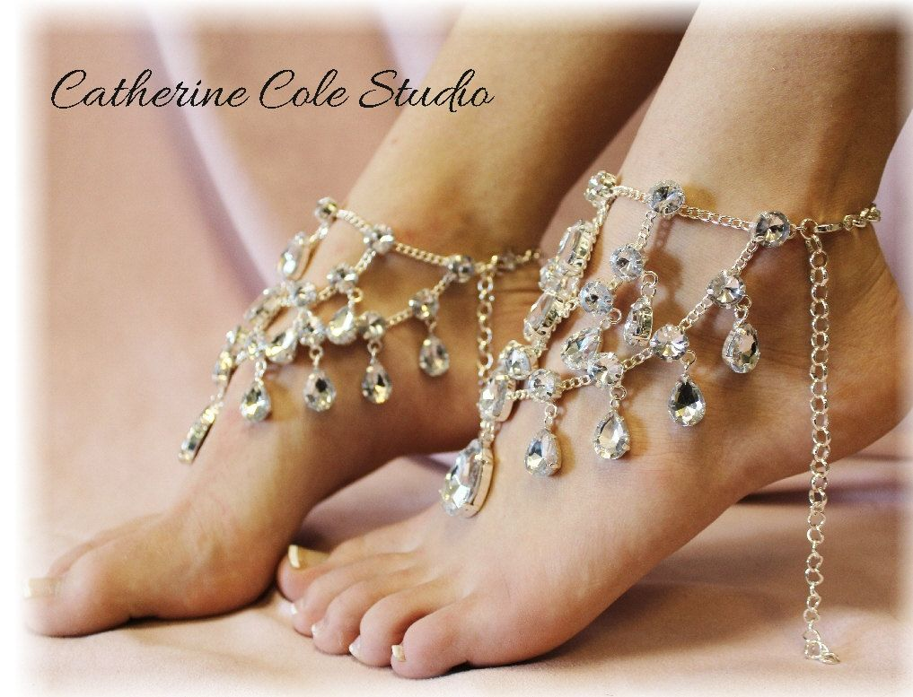CRYSTAL Barefoot sandals foot jewelry by CatherineColeStudio 2500