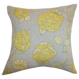 Cotton throw pillow with a floral motif.   Product: PillowConstruction Material: Cotton cover and 95/5 down fillColor: GrayFeatures:  Insert includedHidden zipper closureMade in the USA Dimensions: 18 x 18 Cleaning and Care: Spot clean