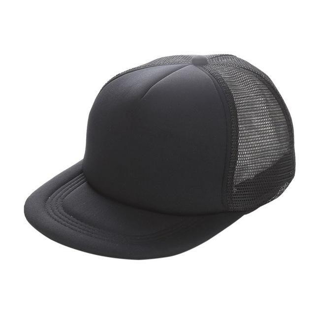 Flat Brim Blank Plain Baseball Cap Hip Hop Women Men Mesh Snapback  Strapback Trucker Hat Bone d3b8db7f73c6