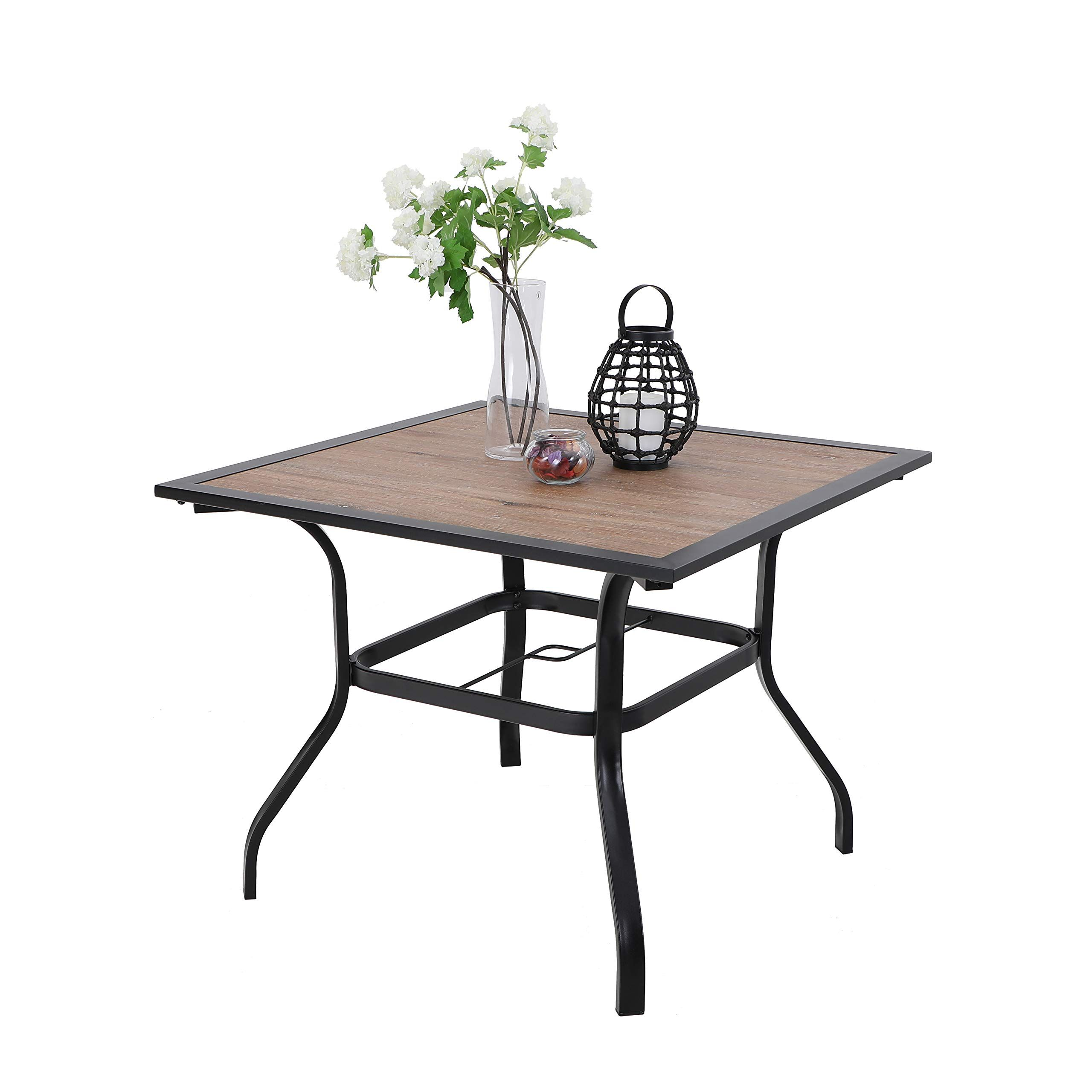 Mf Studio Patio Dinning Table 37 Square Backyard Outdoor Bistro Table Patio Furniture Table With Wooden Like Surface Top 1 7 Umbrella Hole Steel Frame Wal Patio Furniture Table Bistro Table Bistro table with umbrella hole