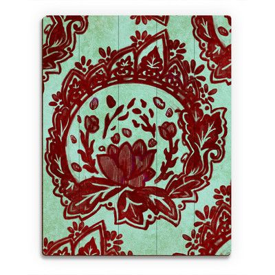 "Click Wall Art 'Maroon and Teal Damask' Painting Print on Plaque Size: 14"" H x 11"" W x 1"" D"