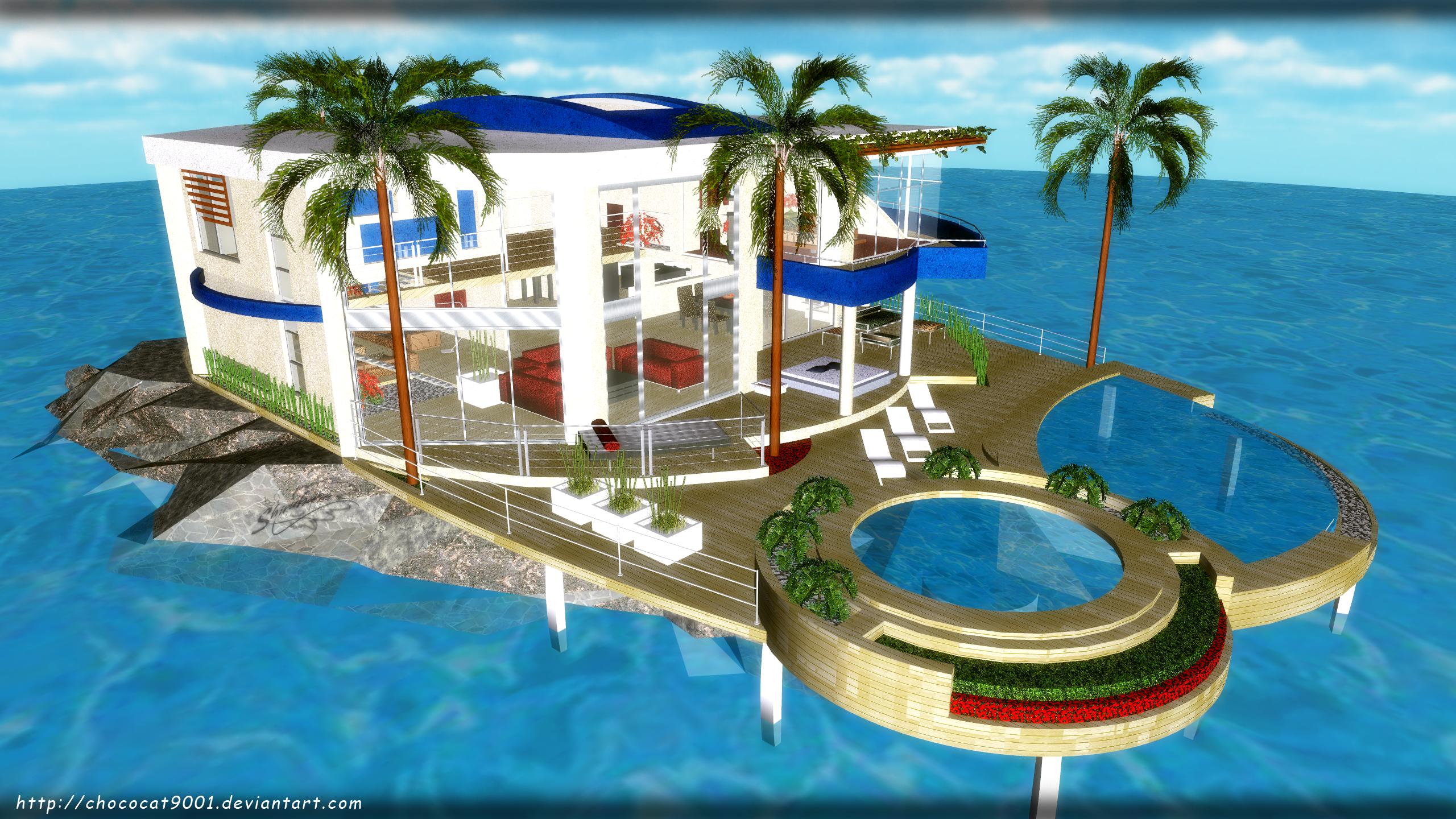 Vacation House In Ocean Mmd Stage Dl By Chococat9001 Vacation