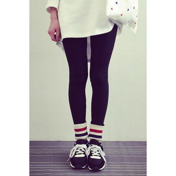 Preppy Style Thick Fleece Rainbow Color Striped Hem Bodycon Leggings For Women #women, #men, #hats, #watches, #belts, #fashion