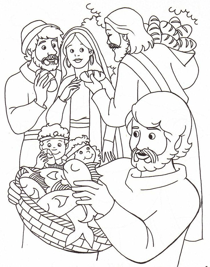 Coloring pages about jesus feeding 5000 free coloring pages for kids