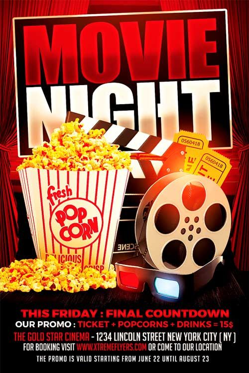Movie-Night-Flyer-Psd-Free | Lugdasdasares Que Visitar | Pinterest