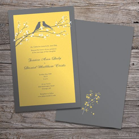 gray and yellow love birds wedding invitation set suite - wording, Wedding invitations