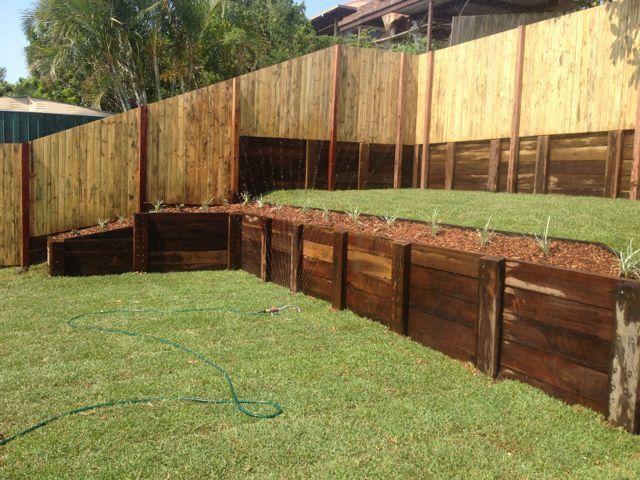 North Brisbane Timber Retaining Wall Contractor Backyard Landscaping Backyard Outdoor Decor