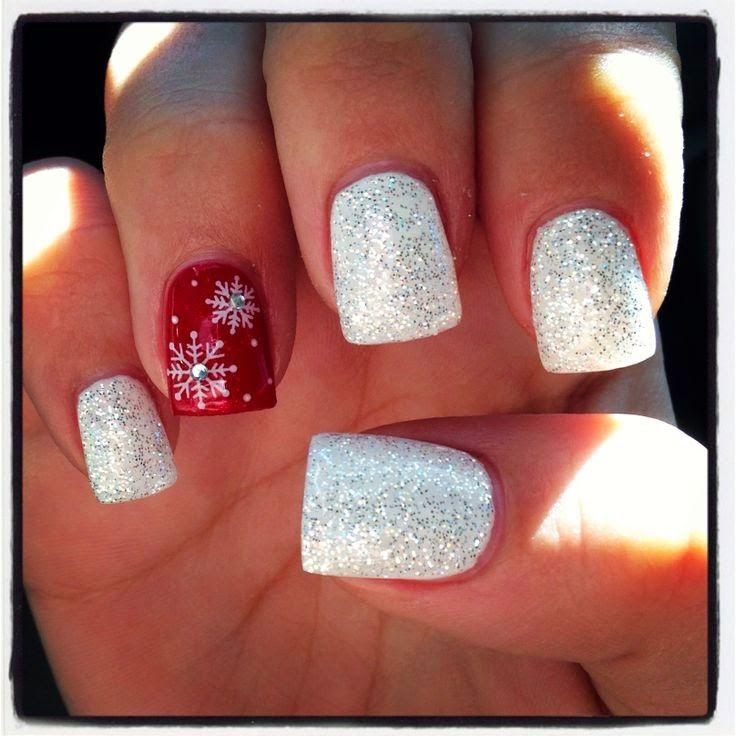 Red White Christmas Nails