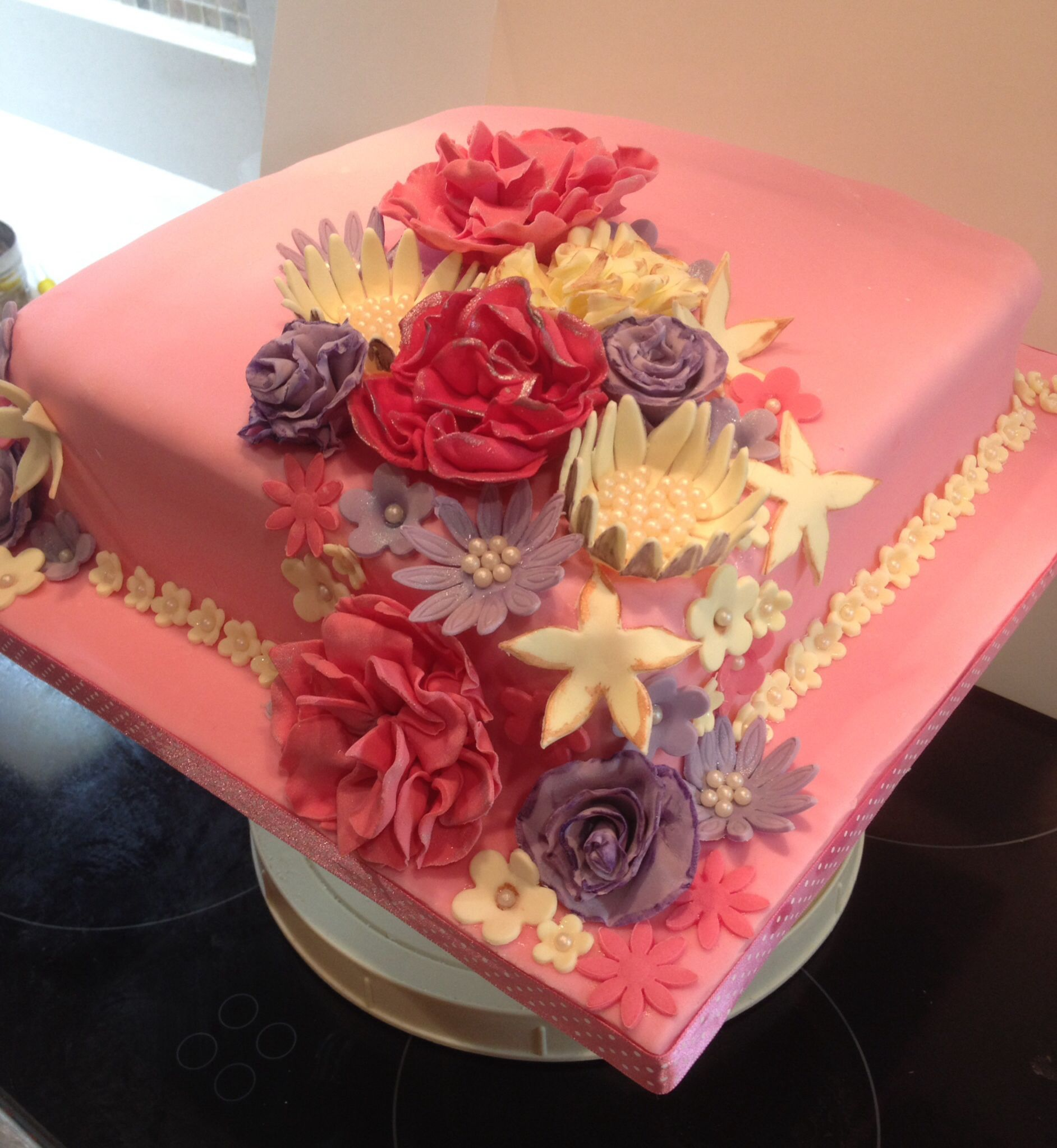 Pretty Pink Flower Cake For A Pretty Lady All Edible Ibakecakes