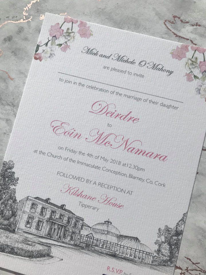 Floral illustrated venue wedding invitation by Appleberry