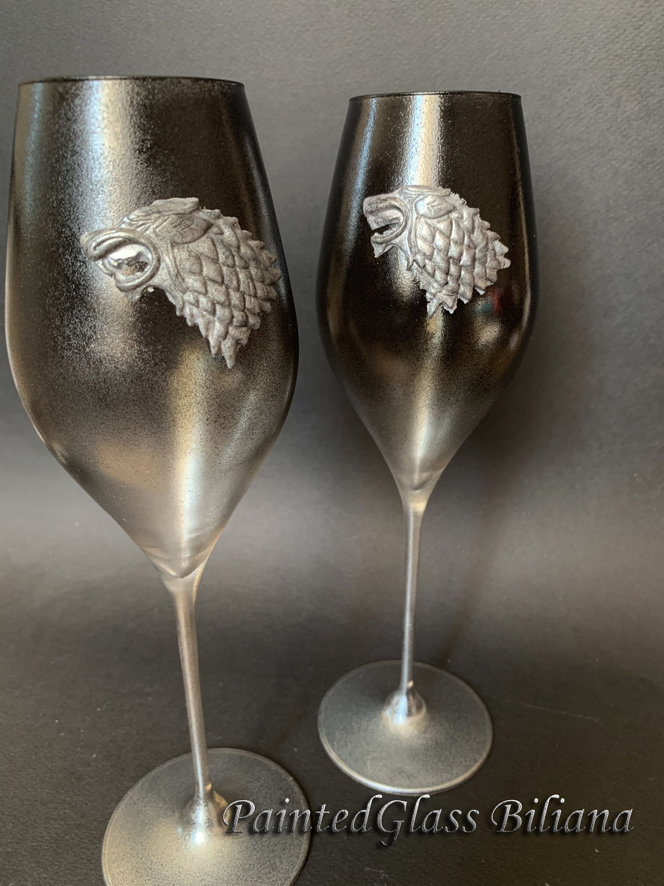 Game of thrones Set of 2 hand handmade hand painted wedding champagne flutes House Stark