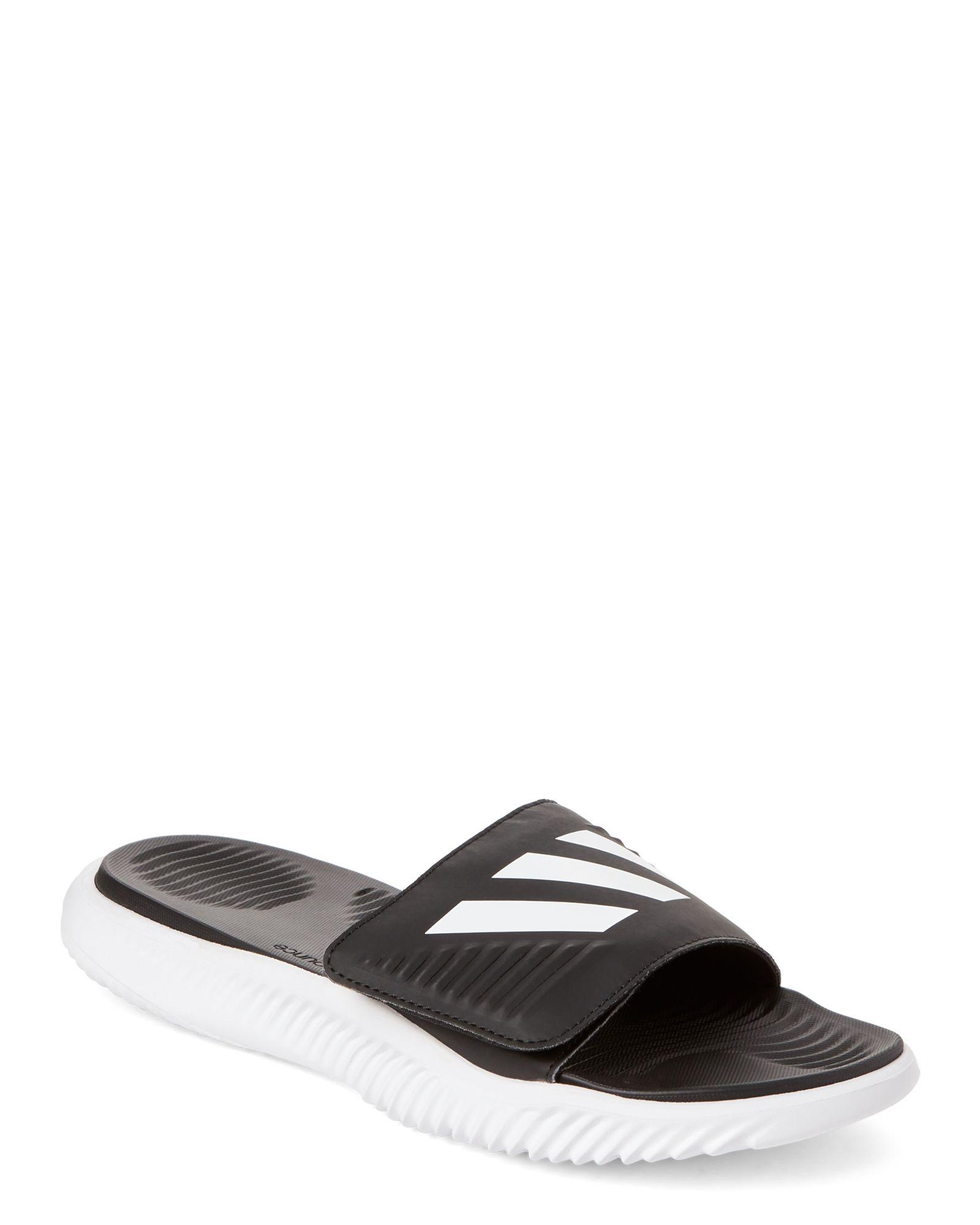 e7db89c4127 Adidas White   Black Alpha Bounce Slide Sandals