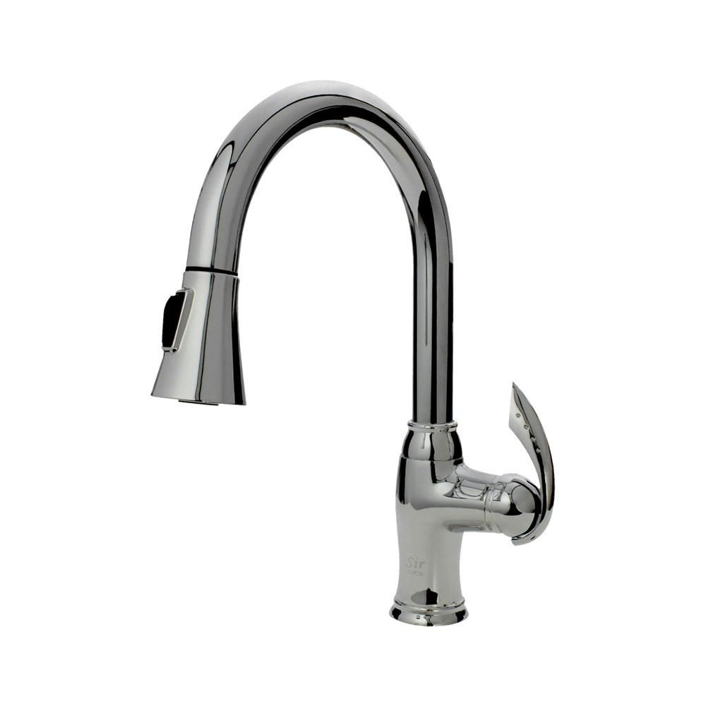 Sir Faucets Single Handle Pull Down Hot Cold Faucet Chrome Bbqguys Kitchen Faucet Faucet Chrome Kitchen Faucet