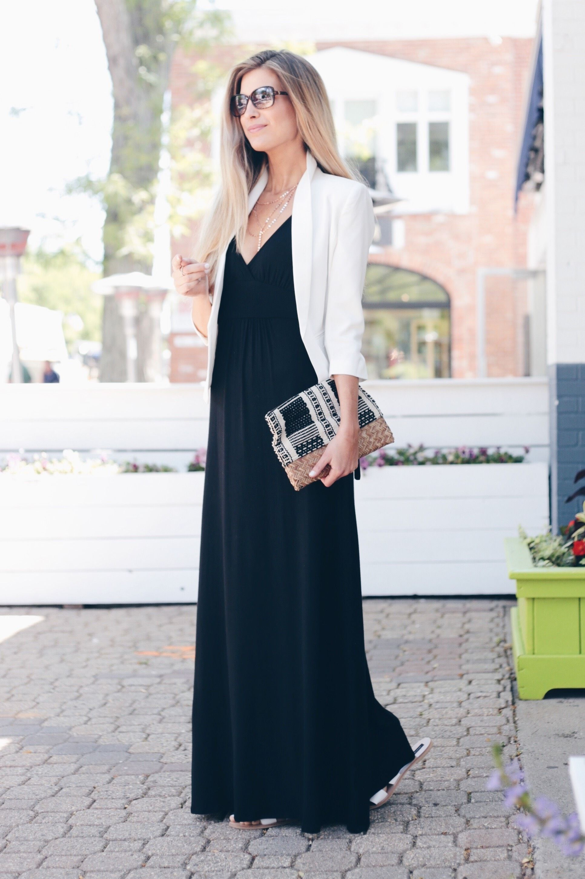 Three Ways To Style A Maxi Dress New England Style Blog Maxi Outfits Black Maxi Dress Black Maxi Dress Outfit [ 2900 x 1932 Pixel ]