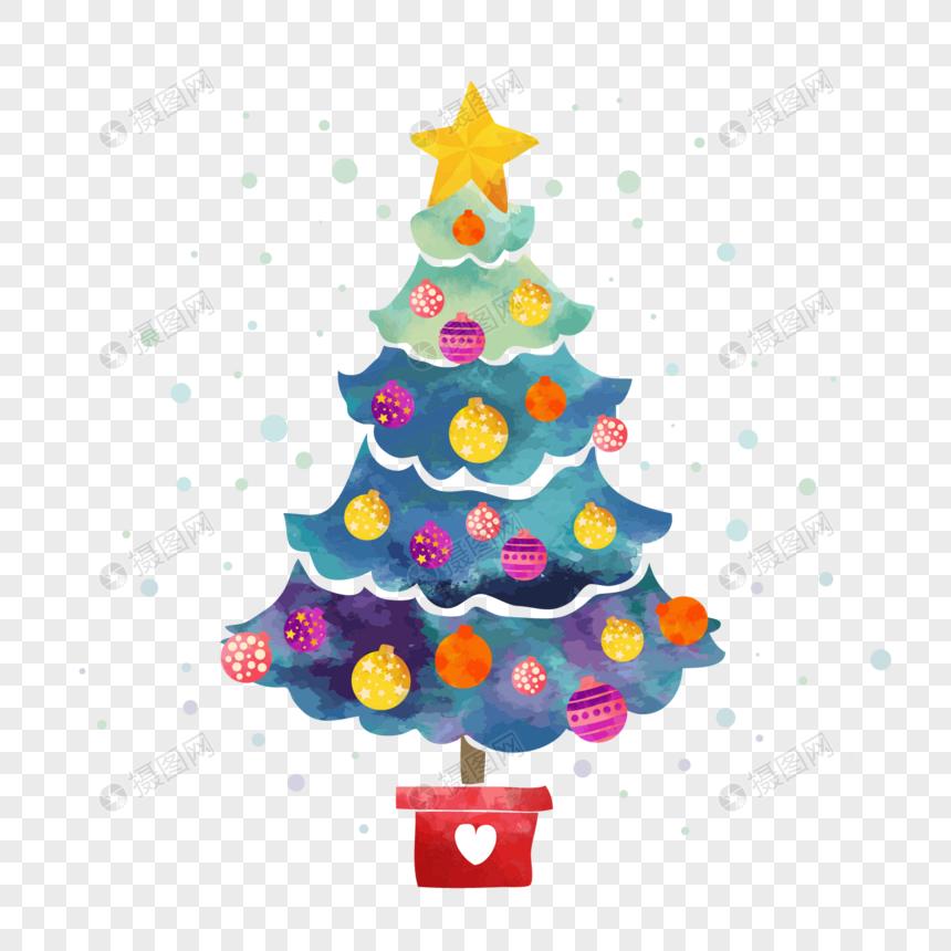 Cartoon Watercolor Christmas Tree Elements Watercolors Christmas Trees Stars Pentagram Decor Watercolor Christmas Tree Christmas Watercolor Template Design