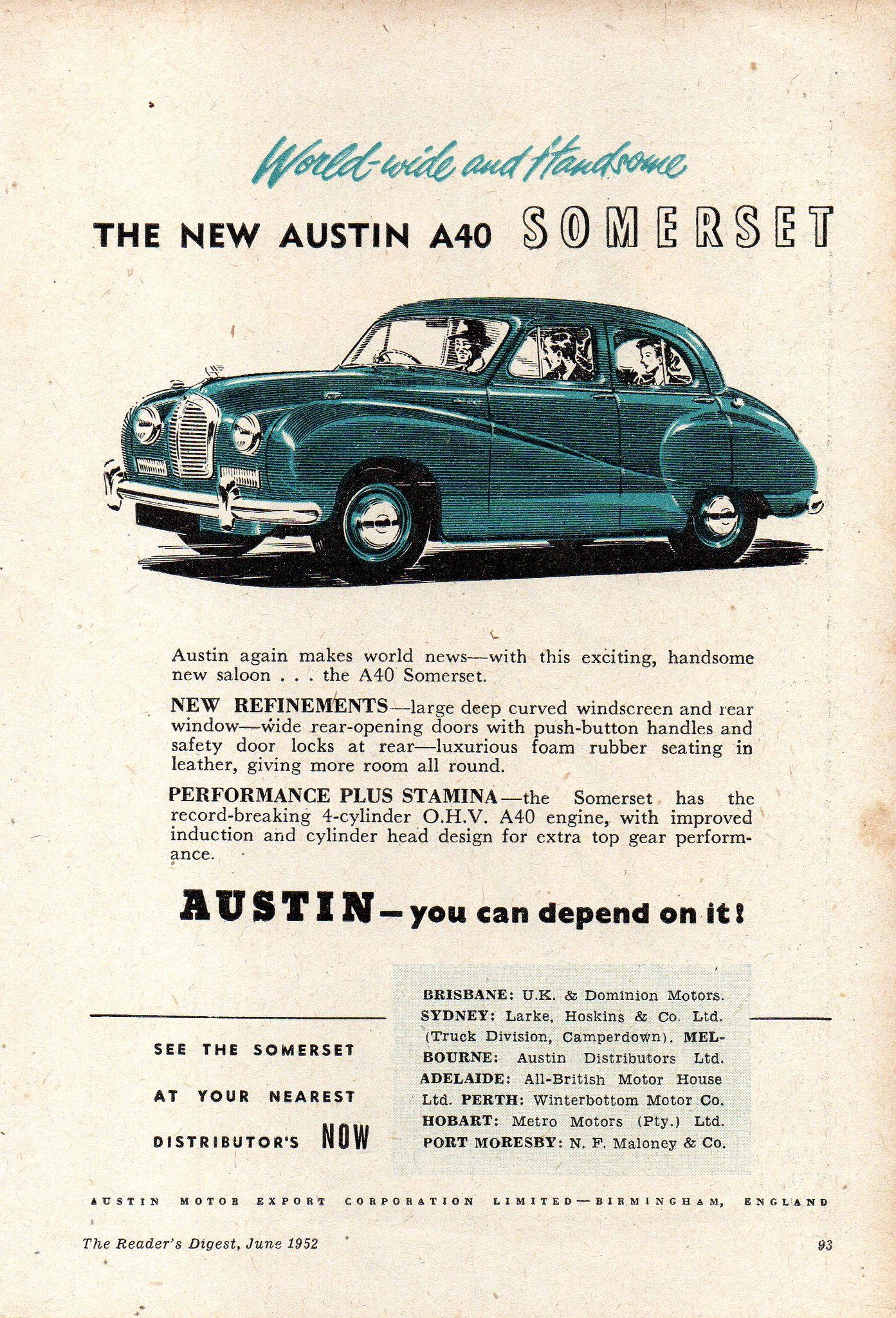 1952 Austin A40 Somerset Saloon Aussie Original Magazine