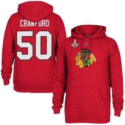 NHL: Men's Chicago Blackhawks Corey Crawford Reebok Red 2015 Stanley Cup Champions Name & Number Hoodie: $69.99