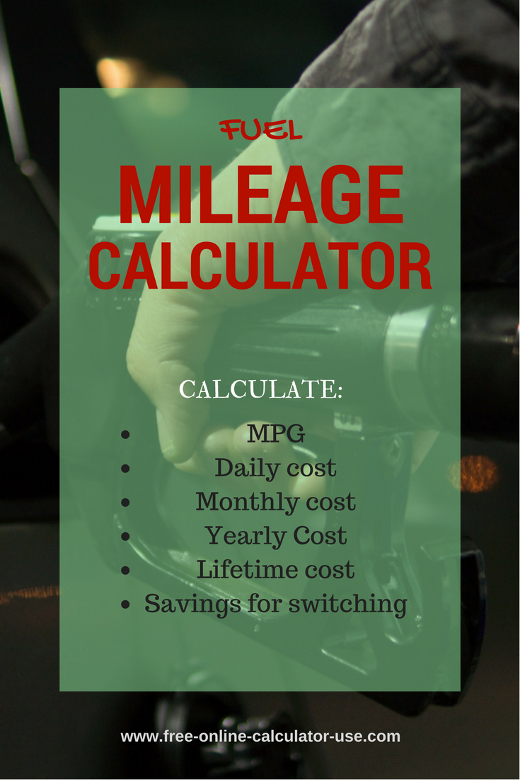 Fuel Mileage Calculator With Periodic And Lifetime Cost Estimator Fuel Mileage Mileage Car Fuel