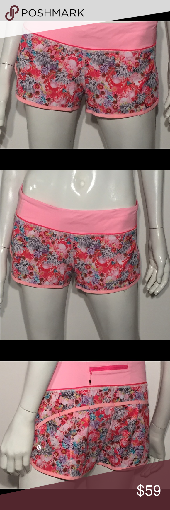 "LULULEMON wildflower run speed shorts size 6 Excellent like new condition only worn once!! 30"" waist x 3"" inseam lululemon athletica Shorts Skorts"