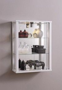 Etonnant Wall Mounted Glass Display Cabinet White
