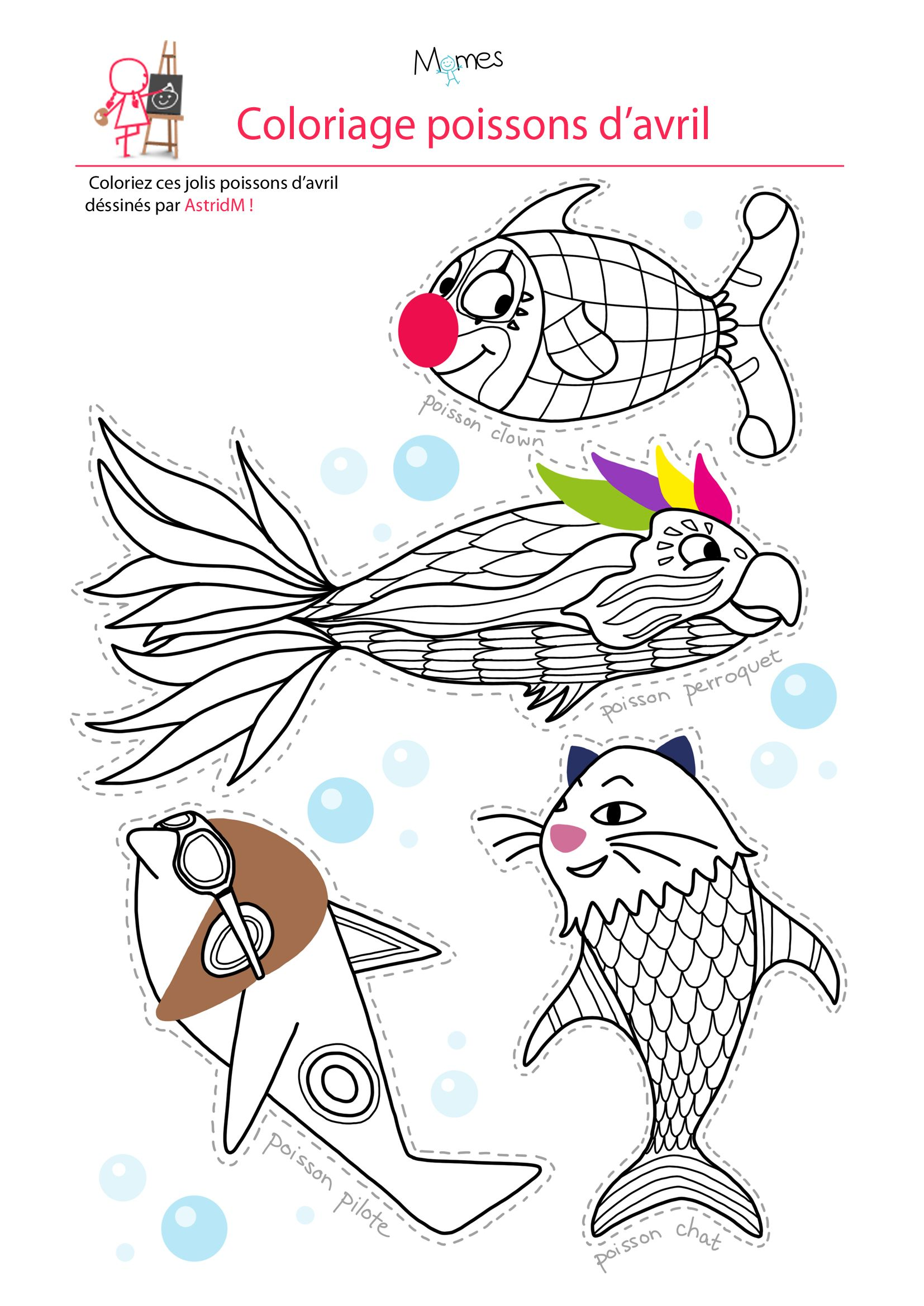 Coloriage 4 poissons d avril