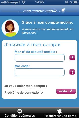 Accueil application ameli (assurance maladie)