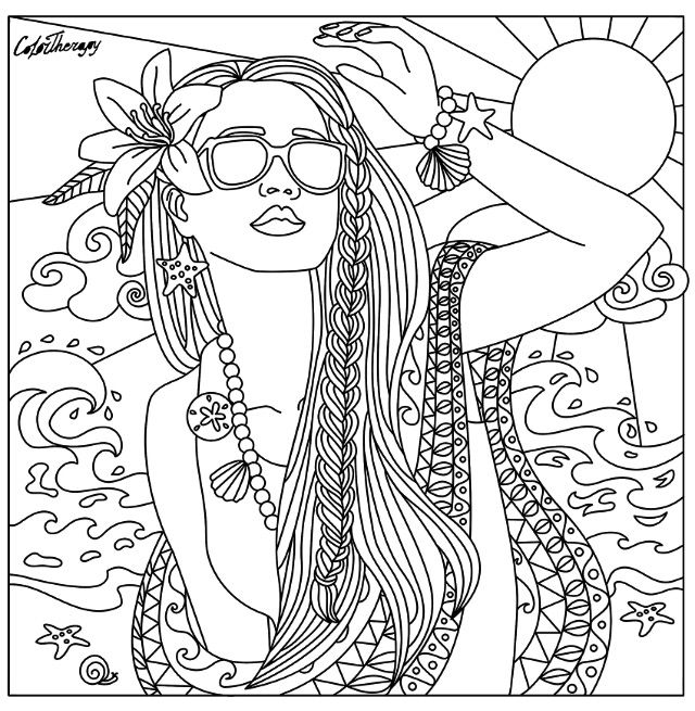 Beach babe coloring page Beautiful Women Coloring Pages for