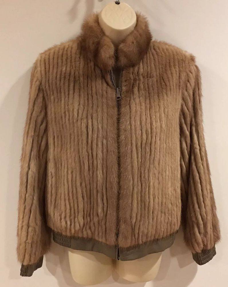 2c0f9ccb2 Details about Reversible Corded Mink Bomber Jacket Coat~Brown Real ...