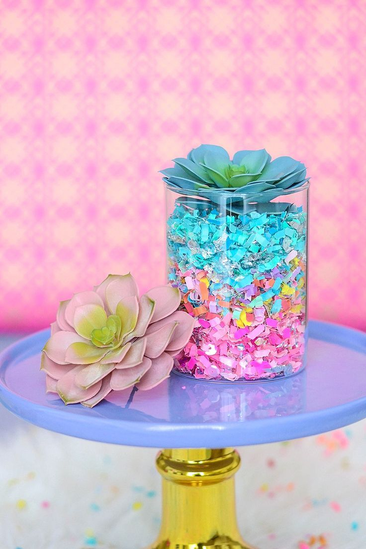 Make Your Own Colorful Confetti Succulent Terrarium #succulentterrarium
