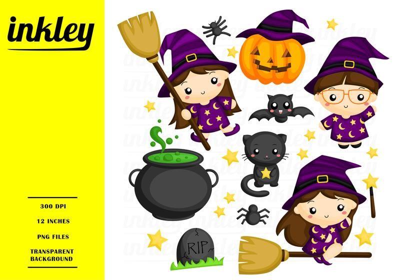 Halloween Witch Clipart Cute Kids Clip Art Holiday And Etsy In 2020 Witch Clipart Halloween Clips Halloween Clipart