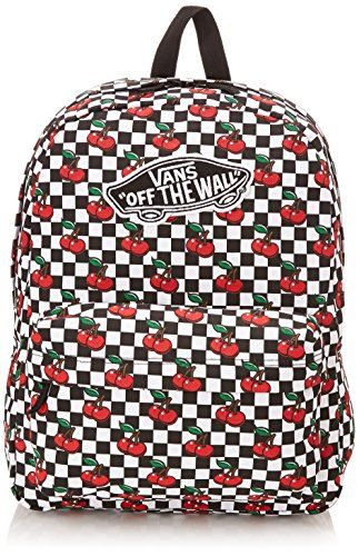12e7284358 Vans Womens Realm Backpack cherry Checkers Blacktrue White   Click image to  review more details.