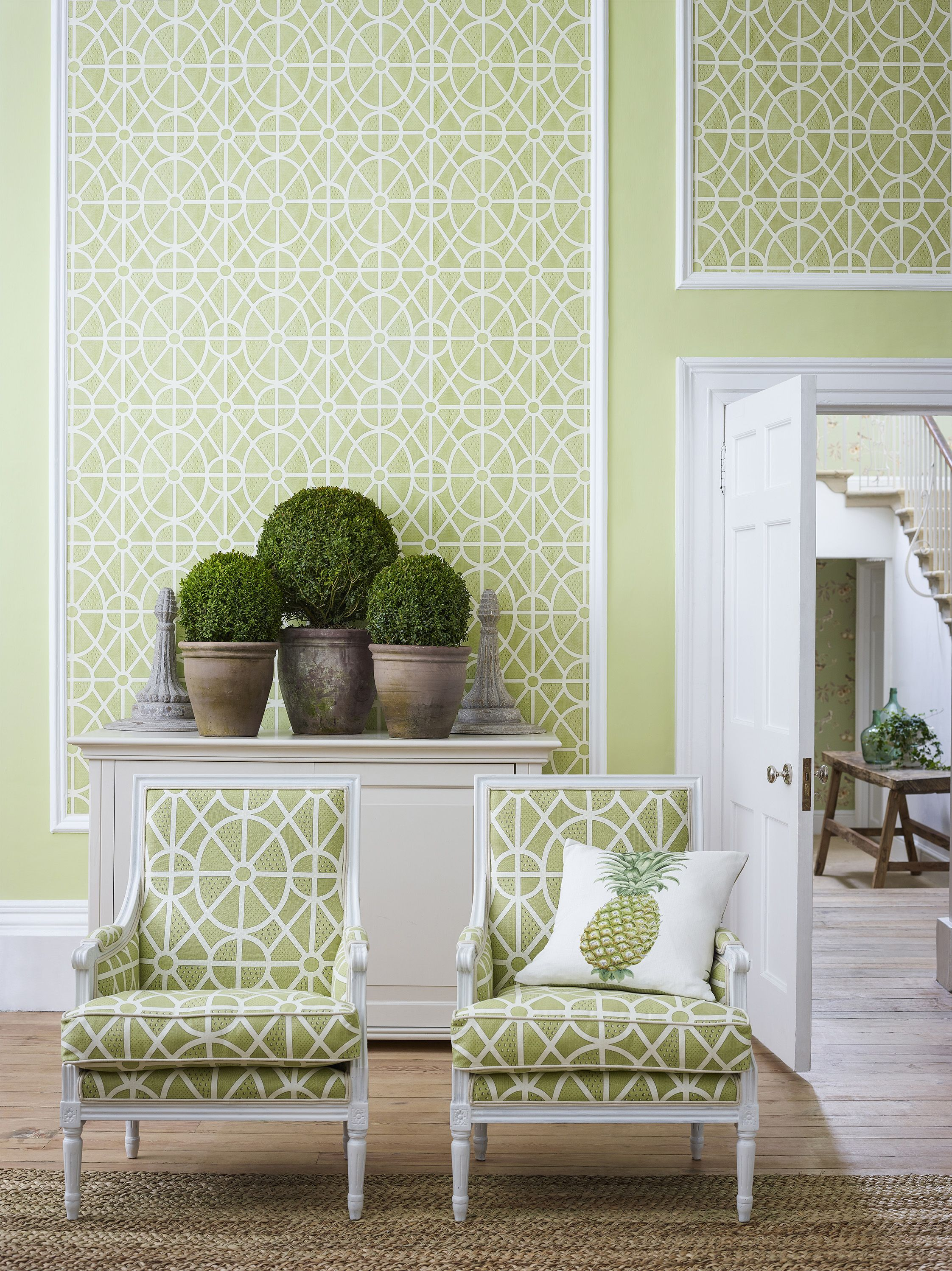 Beautiful matching green wallpaper and fabrics, available