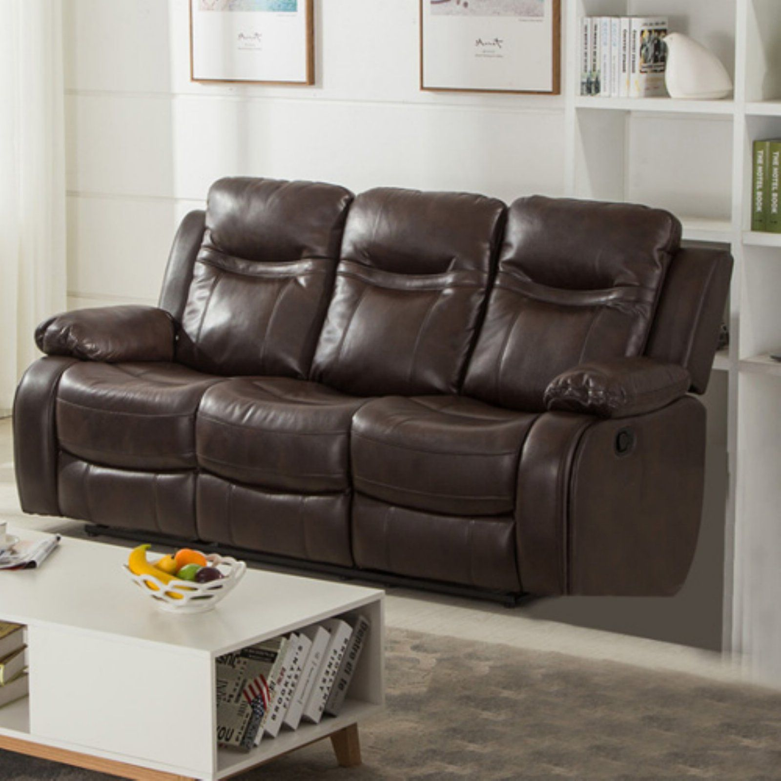 Gordon Motion Leather Air Double Recliner Sofa With Drop Down Table Brown