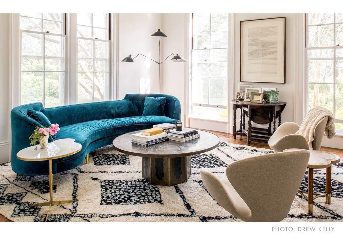 Modern Living Room With Teal Sofa Living Room Modern Round Sofa London Living Room #teal #sofa #living #room #decor